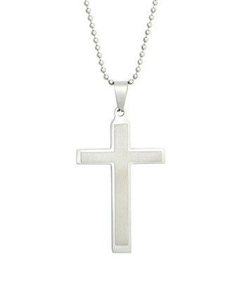 Men's Brushed Stainless Steel Cross Pendant Necklace Eve's Jewelry