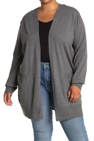 Open Front Pocket Long Cardigan (Plus Size) Sweet Romeo