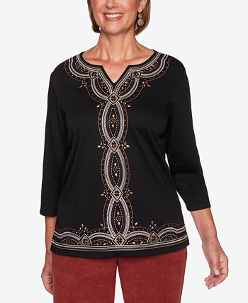 Petite Catwalk Embroidered Knit Top Alfred Dunner