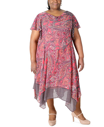 Plus Size Paisley-Print Asymmetrical-Hem Dress Robbie Bee