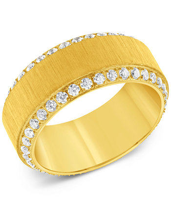 Men's Cubic Zirconia Textured Band in Yellow Ion-Plated Stainless Steel Macy's