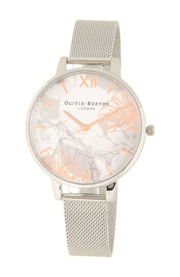 Women's Abstract Floral Print Mesh Strap Watch, 38mm OLIVIA BURTON