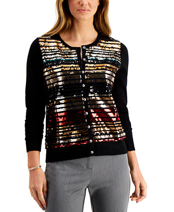 Petite Sequin-Striped Cardigan Sweater, Created for Macy's Charter Club