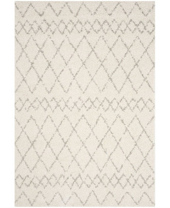 Berber Shag Cream and Light Gray 6' x 9' Area Rug Safavieh