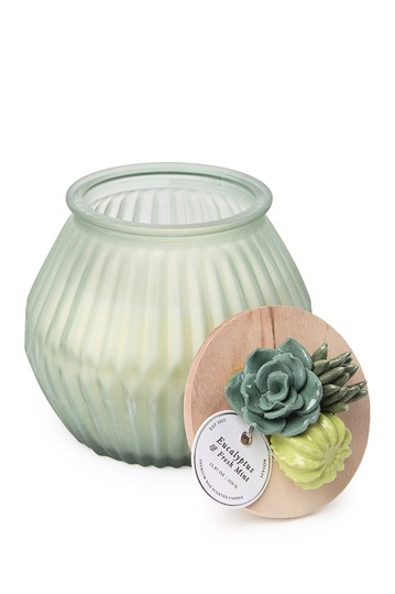 Eucalyptus & Fresh Mint Scented Floral Lid Candle - 16.22 oz. PORTOFINO