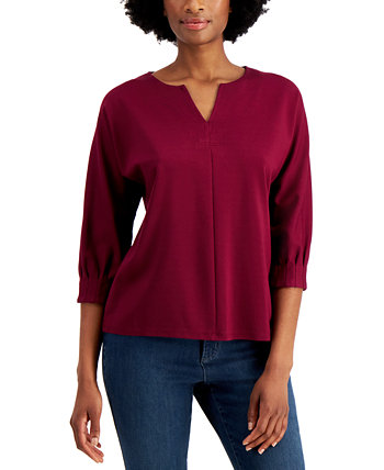 Cotton Split-Neck Top, Created for Macy's Charter Club