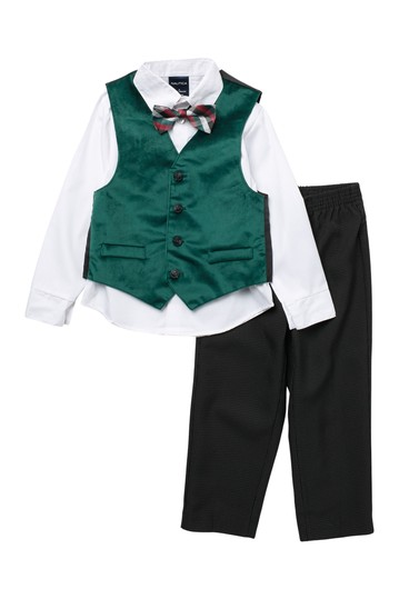 Holiday Velvet Vest Set (Toddler & Little Boys) Nautica