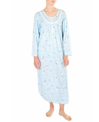 Printed Honeycomb Pointelle Long Nightgown Miss Elaine