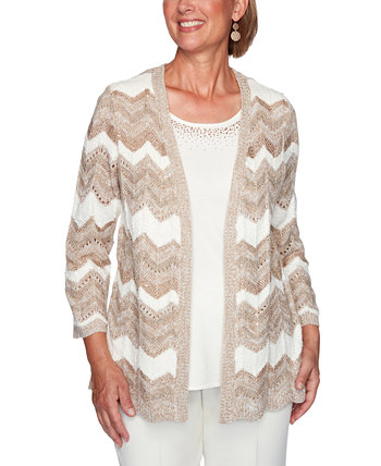 Petite Dover Cliffs Chevron Pointelle Two-For-One Sweater Alfred Dunner
