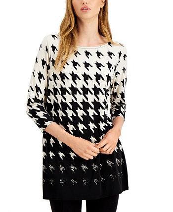 Ombre Houndstooth-Print Tunic Top, Created for Macy's Alfani