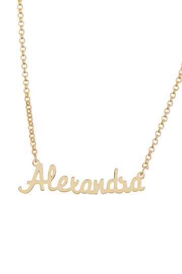 18K Yellow Gold Plated Sterling Silver 'Alexandra' Name Pendant Necklace Argento Vivo