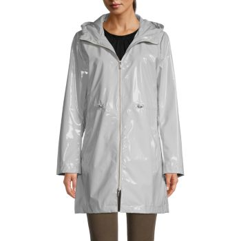 Iconic Faux Leather Hooded Parka Jane Post