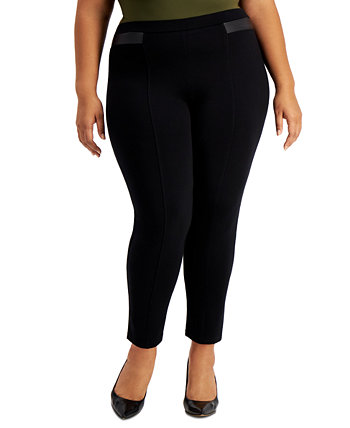 Plus Size Faux-Leather-Trim Pull-On Pants, Created for Macy's J&M Collection