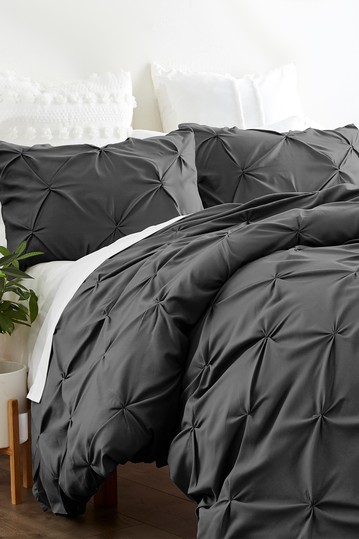 Home Collection Premium Ultra Soft 3-Piece Pinch Pleat Duvet Cover Set - Gray IENJOY HOME