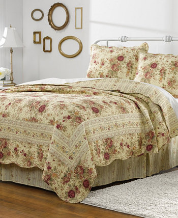 Antique Rose Quilt Set, 3-Piece King Greenland Home Fashions