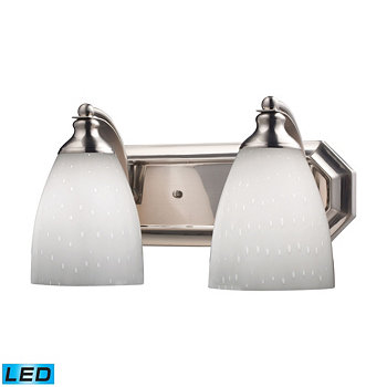 2 Light Vanity in Satin Nickel and Simply White Glass - LED, 800 Lumens (1600 Lumens Total) with Ful ELK Lighting