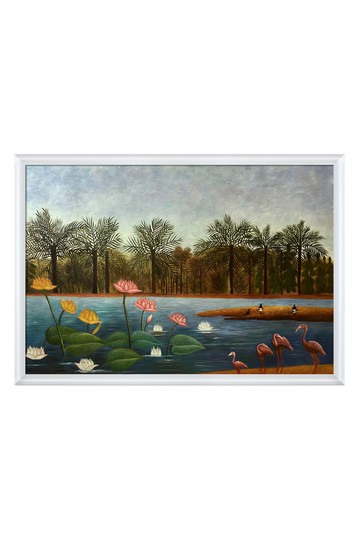 """The Flamingoes with Moderne Blanc Frame, 38.75"""" x 26.75"""" No brands"""
