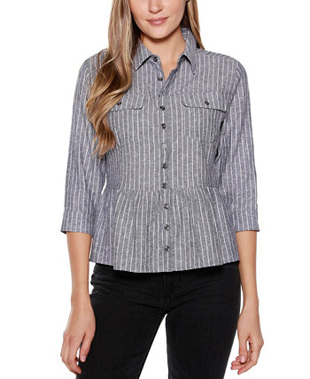 Black Label Striped Button Up Peplum Top with Pockets Belldini