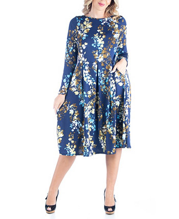 Women's Plus Size Fit and Flare Floral Print Midi Dress 24seven Comfort Apparel