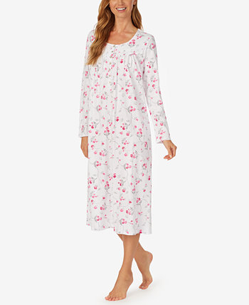 Long-Sleeve Knit Cotton Ballet Nightgown Eileen West