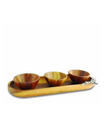 Pewter Olive Wood Baguette Tray with 3 Bowls Vagabond House