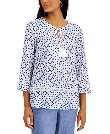 Cotton Printed Tie-Neck Top, Created for Macy's Charter Club