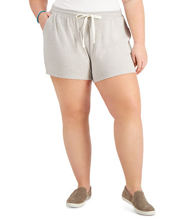 Plus Size Solid Knit Track Shorts, Created for Macy's Style & Co