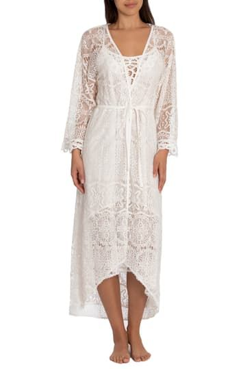 Flying Voile Lace Long Wrap Robe In Bloom by Jonquil