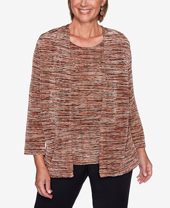 Petite Catwalk Space-Dyed Layered-Look Top Alfred Dunner
