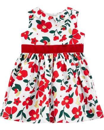 Carter's Floral Sateen Holiday Dress Carters