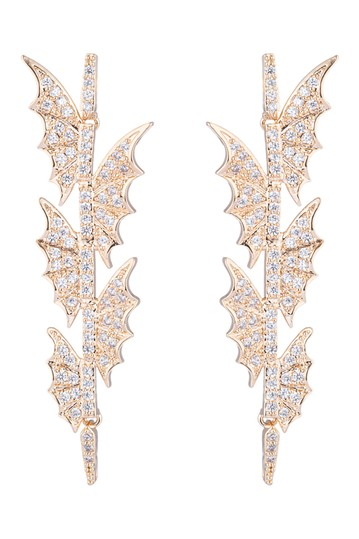 Flying Bat CZ Crystal Drop Earrings Eye Candy Los Angeles
