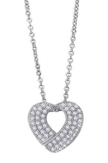 Platinum Over Sterling Silver Simulated Diamond Micro Pave Open Heart Pendant Necklace LaFonn