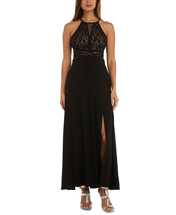 Juniors' Sequined Lace Halter Gown Morgan & Company