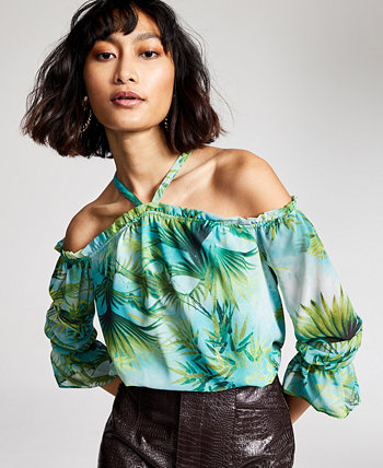I.N.C. Petite Printed Cold-Shoulder Ruffled Halter Top, Created for Macy's INC International Concepts