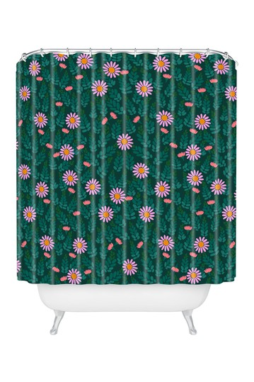 Hello Sayang Wild Daisies Forest Green Shower Curtain Deny Designs