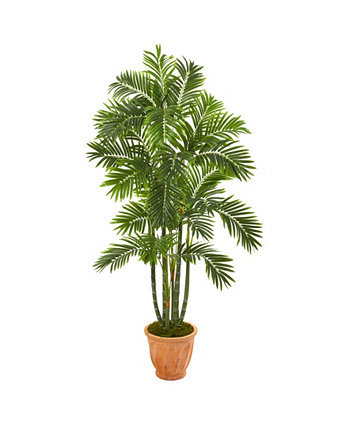 """68"""" Areca Palm Artificial Tree in Orange Planter NEARLY NATURAL"""