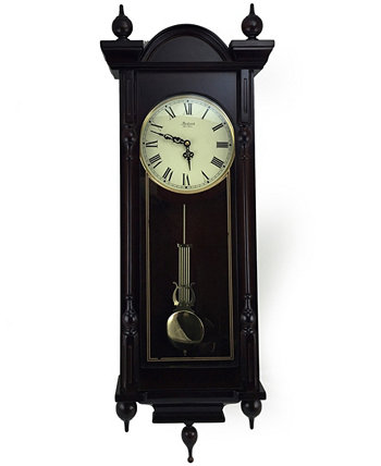 "Clock Collection Grand 31"" Antique Chiming Wall Clock with Roman Numerals Bedford"