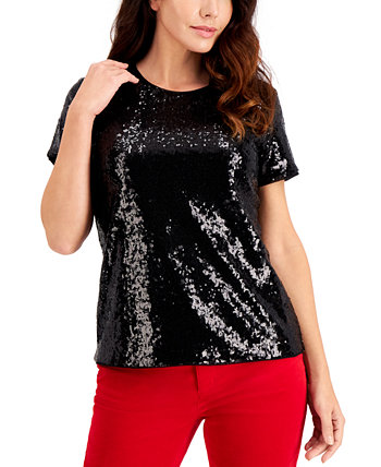 Petite Sequinned Top, Created for Macy's Charter Club