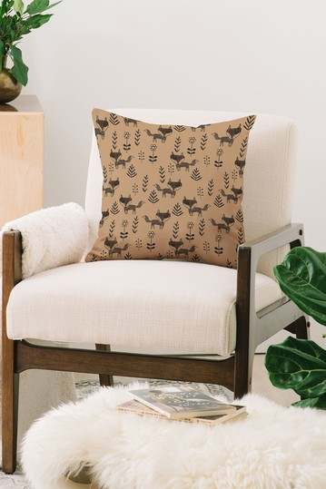 Dash and Ash Friendly Fox Square Throw Pillow Deny Designs
