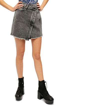 Parker Wrap Denim Mini Skirt Free People