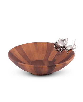 Wood Salad Serving Bowl with Pewter Crab Vagabond House