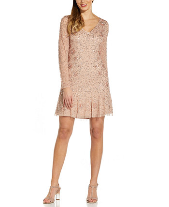 Petite Long-Sleeve Beaded Fit & Flare Dress Adrianna Papell