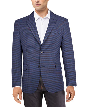 Men's Modern-Fit Blue/Burgundy Houndstooth Check Sport Coat Tommy Hilfiger