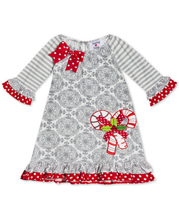 Baby Girls Candy Cane Printed Dress Rare Editions