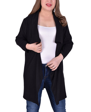 Women's Plus Size Long Sleeve Wide Lapel Cardigan NY Collection