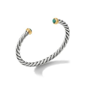 Cable Classic Sterling Silver, 18K Yellow Gold & Chinese Turquoise Cuff Bracelet David Yurman