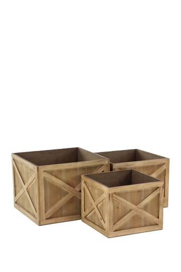 Brown Wood Planter - Set of 3 Willow Row