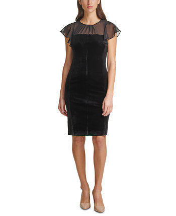 Shirred-Neck Velvet Sheath Dress HARPER ROSE
