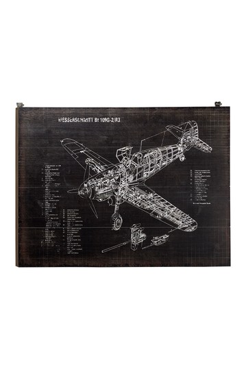 "Industrial Style Black And White"" Messerschmitt"" Airplane Diagram Wood Wall Decor - 31.5"" x 23 Willow Row"