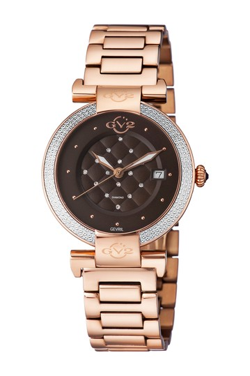 Women's Berletta Brown Dial Rose Gold Watch, 37mm - 0.0044 ctw Gevril